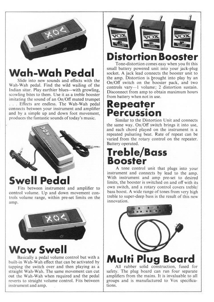 1970 vox guitar  bass  organ and amplifier catalogue page
