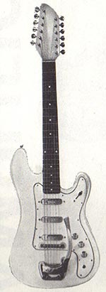 "Vox Bouzouki electric twelve string guitar - from the Vox ""precision in sound"" catalogue, 1963"
