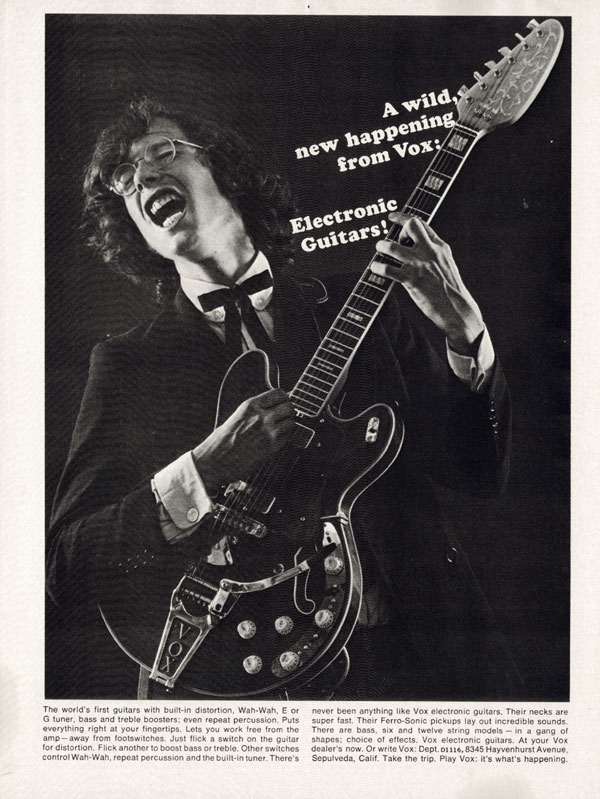 Vox advertisement (1967) A wild new happening from Vox: electronic guitars!