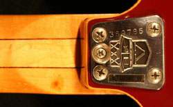 Vox Ultrasonc XII neckplate, serial number and model sticker