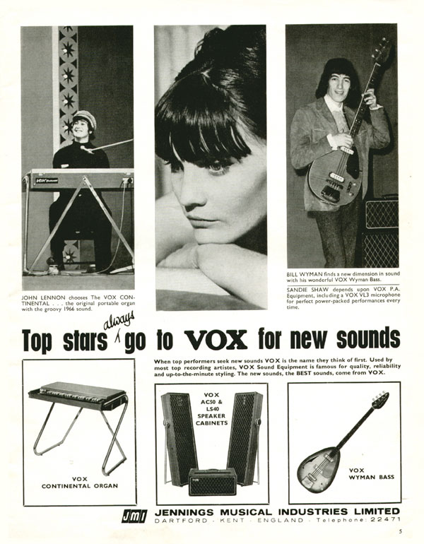 Vox advertisement (1966) Top stars always go to Vox for new sounds