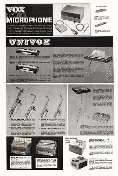 1964 Vox Precision in Sound catalogue page 7