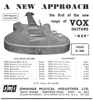 Vox Ace advertisement, 1960