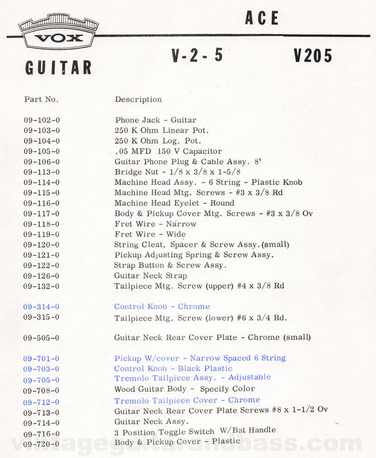 1966 Vox Ace parts list