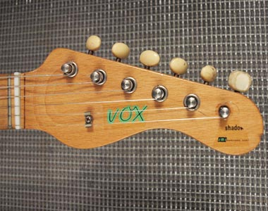 Vox Shadow headstock detail, front