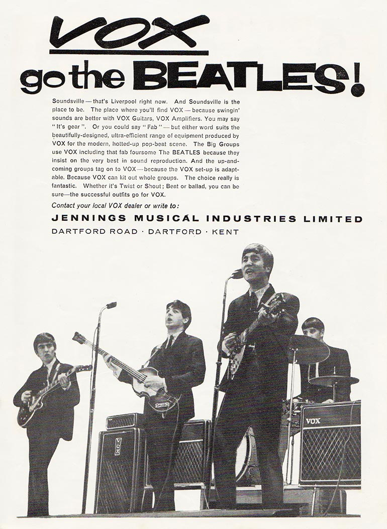 Vox advertisement (1963) Vox Go the Beatles