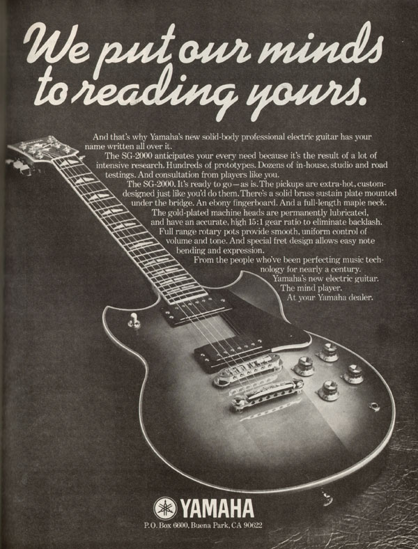 Yamaha advertisement (1977) We put our minds to reading yours